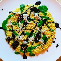 orzo nudo | polline | aglio nero | erborinato